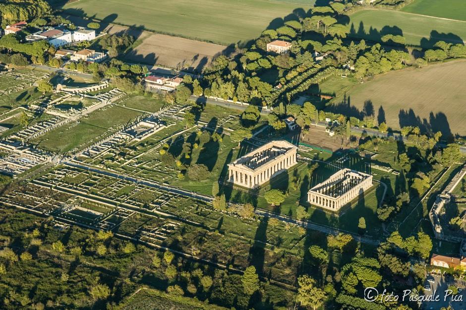 Templi di Paestum dall'alto